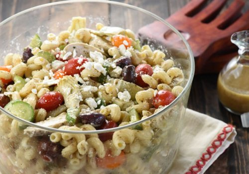 Greek Chicken Pasta with Olives and Feta